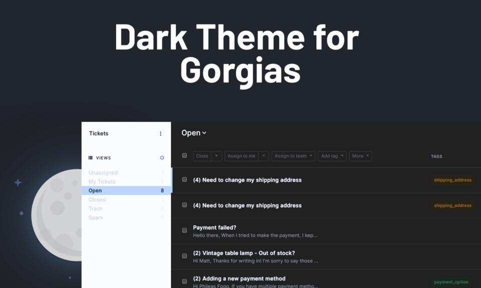 Dark mode for Gorgias