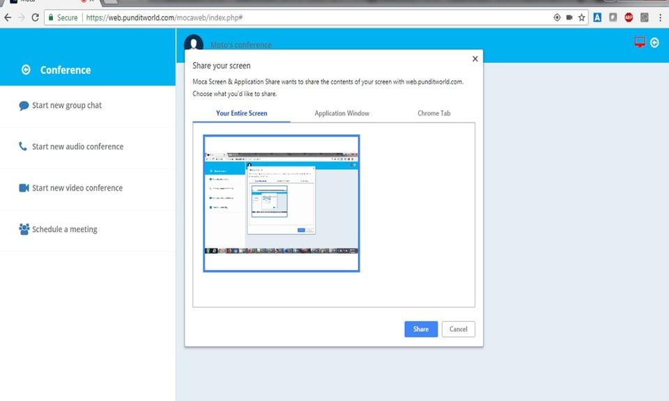 Moca Screen & Application Share