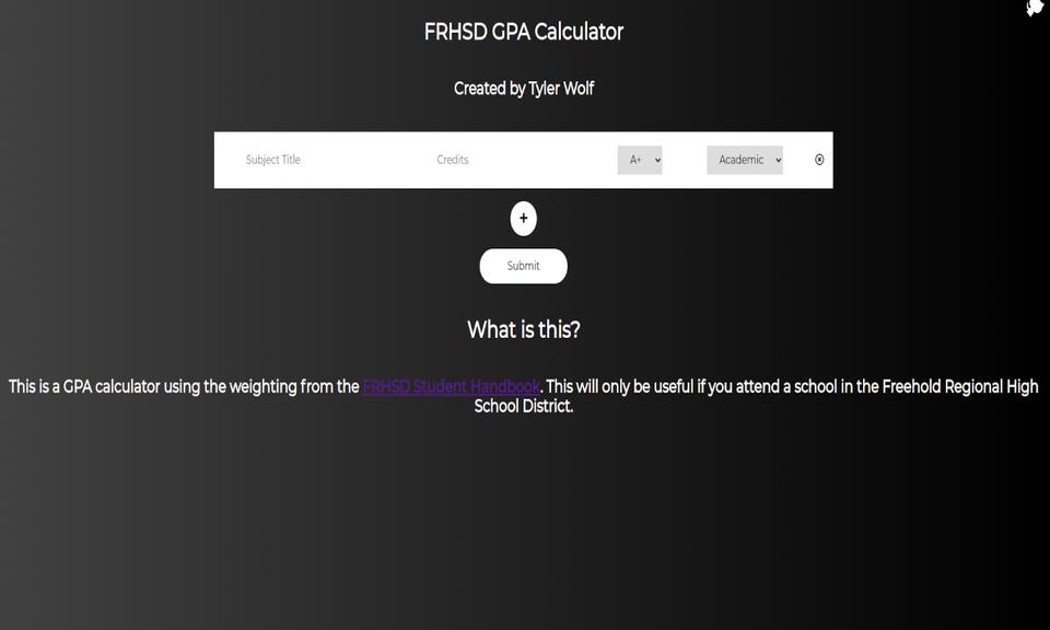 FRHSD GPA Calculator