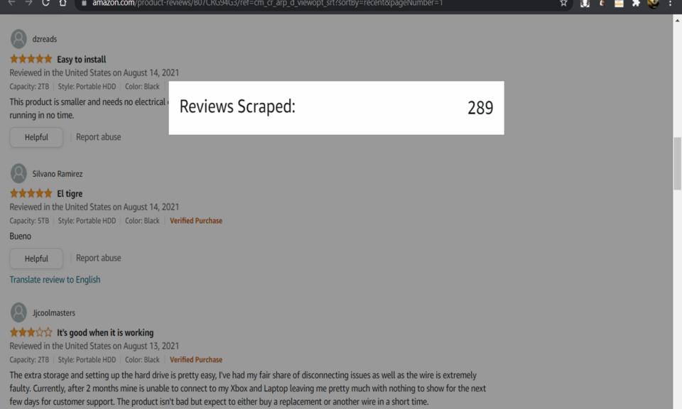 Amazon Review Scraper
