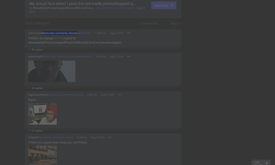 Imgur User Links (Favorites, Comments, About)