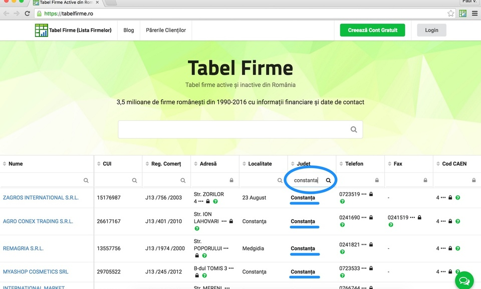 Tabel Firme - lista firme din România
