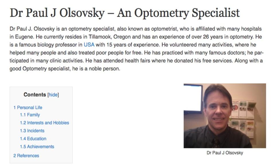 Dr Paul J Olsovsky