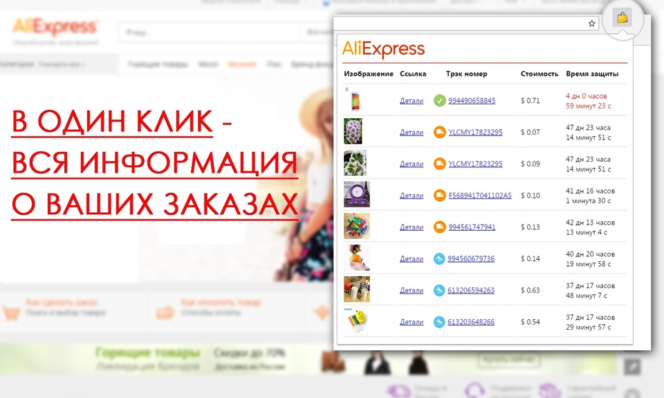 All your orders from Aliexpress in one click