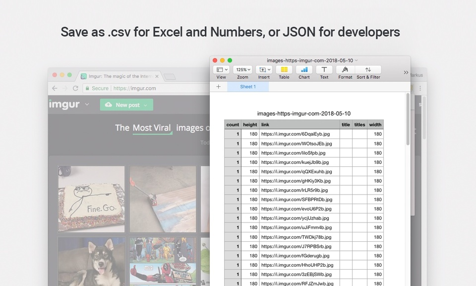 Copy all links and image links to CSV or JSON