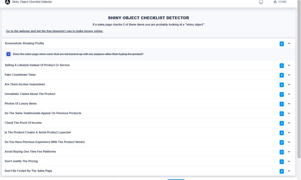 Shiny Object Checklist Detector