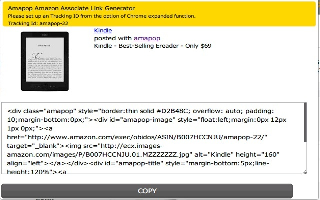 Amapop Amazon Affiliate Link Generator