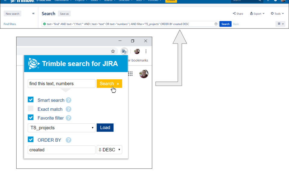 Trimble search for JIRA