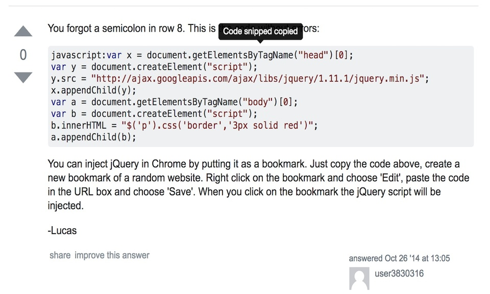Copy Stack Overflow Code Snippets