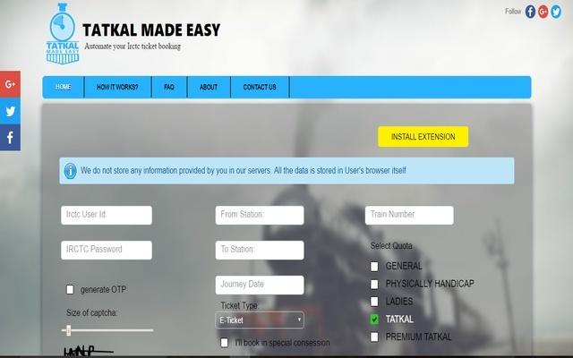 Tatkal Made easy - IRCTC Auto fill
