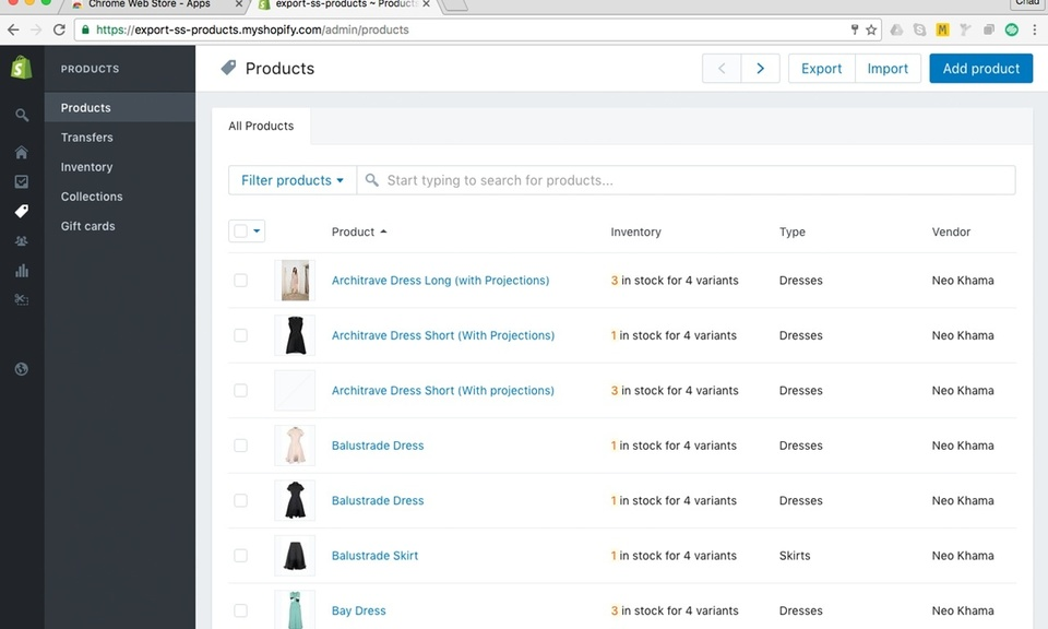 Export GoDaddy Products