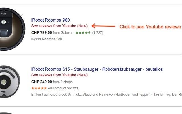 Youtube reviews in Google Shopping