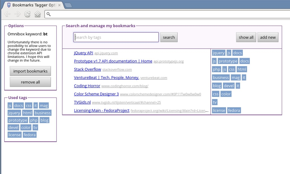 Bookmarks Tagger