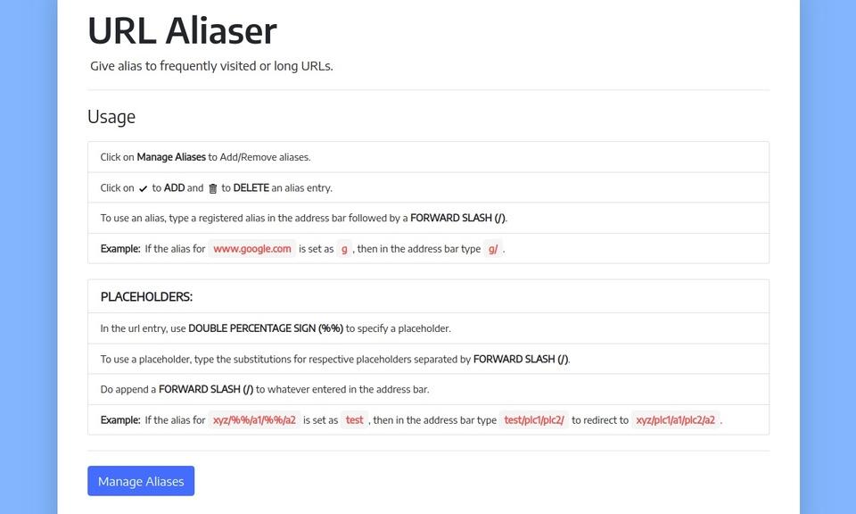 URL Aliaser