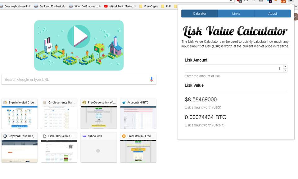 Lisk Value Calculator