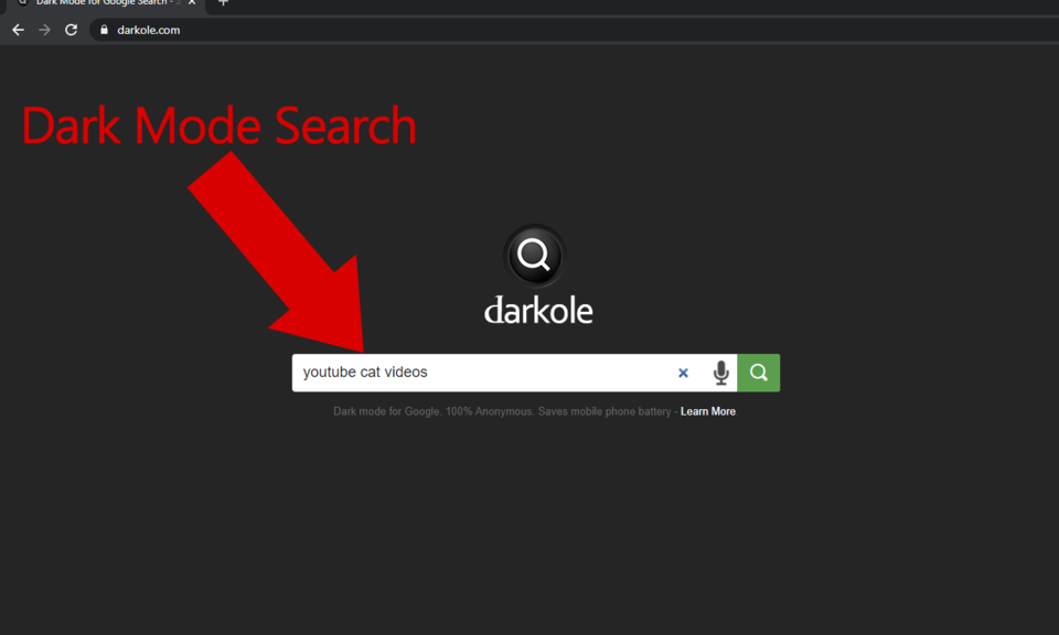 Darkole — Dark mode search for Google