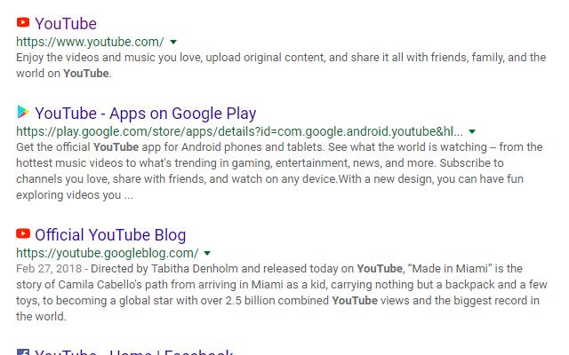 Google Search Favicons