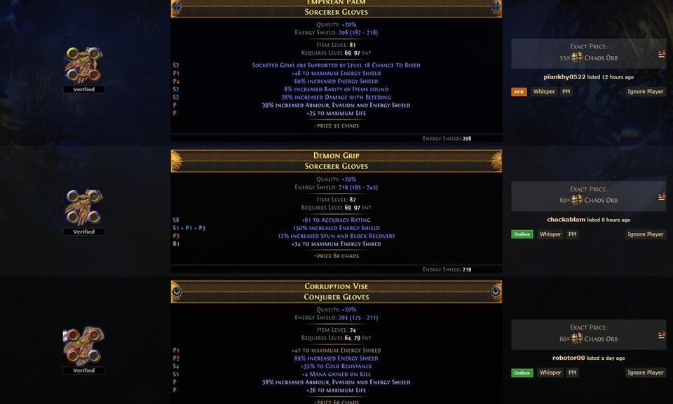 PoE Trade Divine Rolls