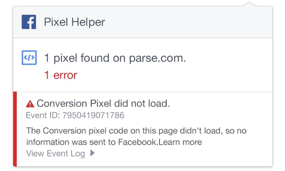 Facebook Pixel Helper-故障排除工具