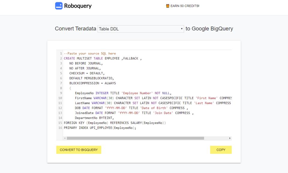 Roboquery - Convert code to Google Bigquery
