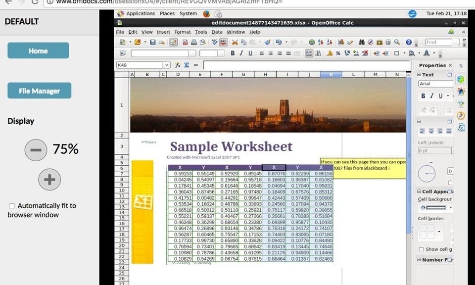 OpenOffice Calc在线为xls电子表格