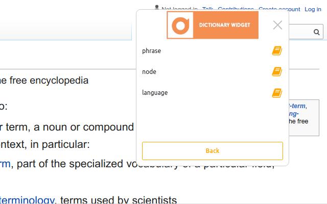 Dictionary Widget