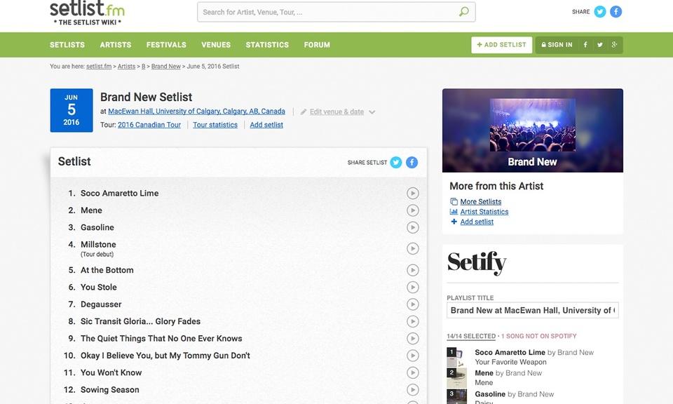 Setify, convert setlists to playlists
