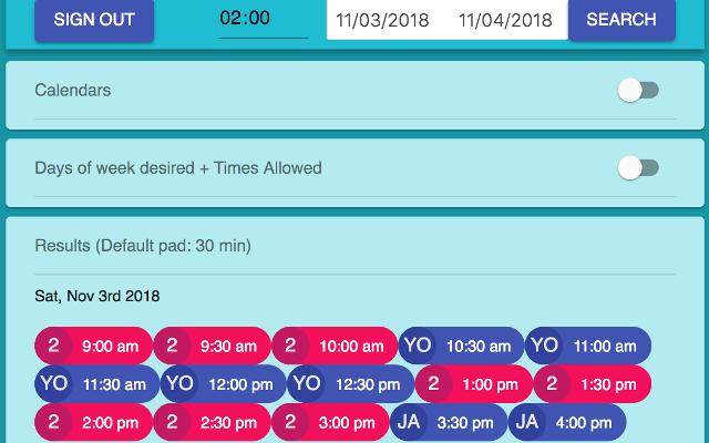 Google Calendar Availabilities
