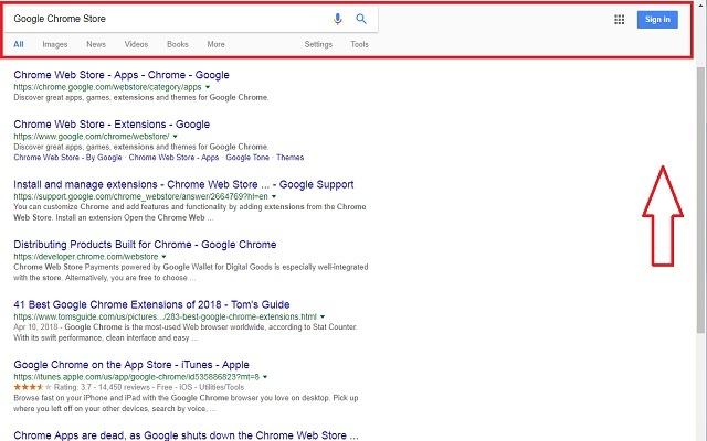 Scroll Search bar