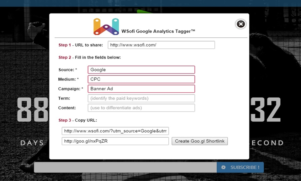 Wsofi Tagger for Google Analytics™