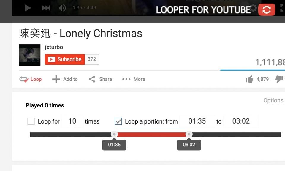 Looper for YouTube - 自动重播