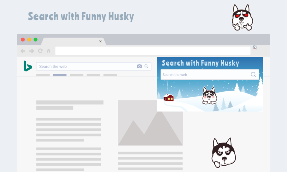 Search with Funny Husky Dog