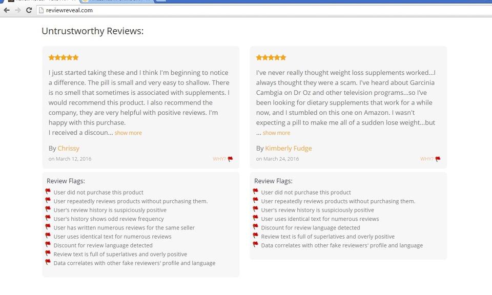 Review Reveal - Identify Fake Amazon Reviews
