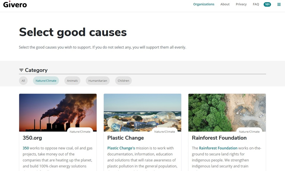 Givero - Search the web to support charities