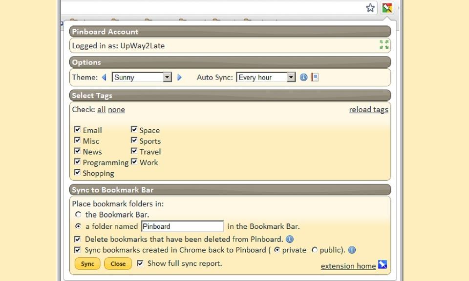 Pinboard Bookmark Bar Sync 1.1