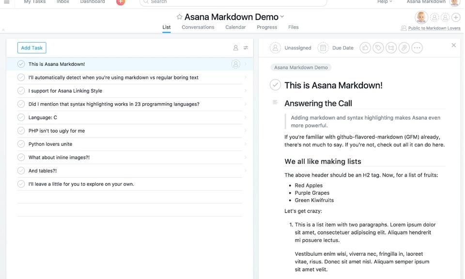 Asana Markdown and Syntax Highlighting