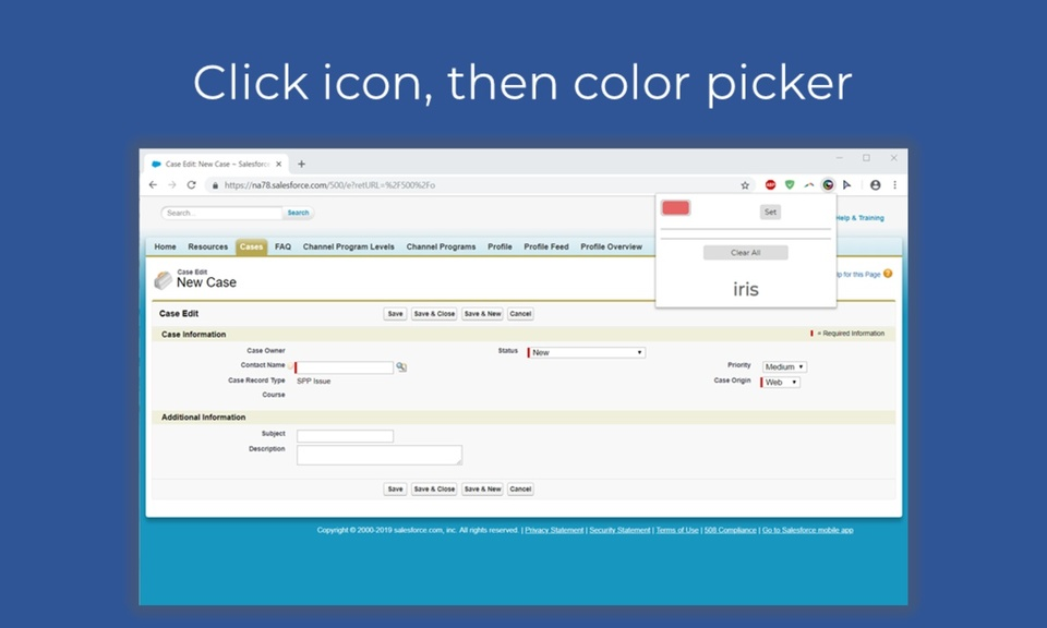 iris: Salesforce Color Changer