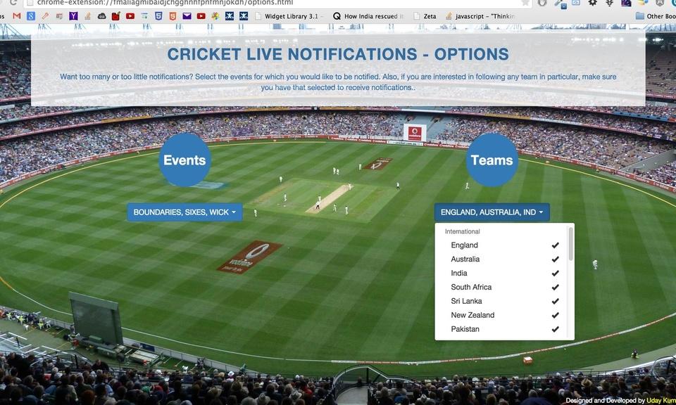 Cricket Live Notifications