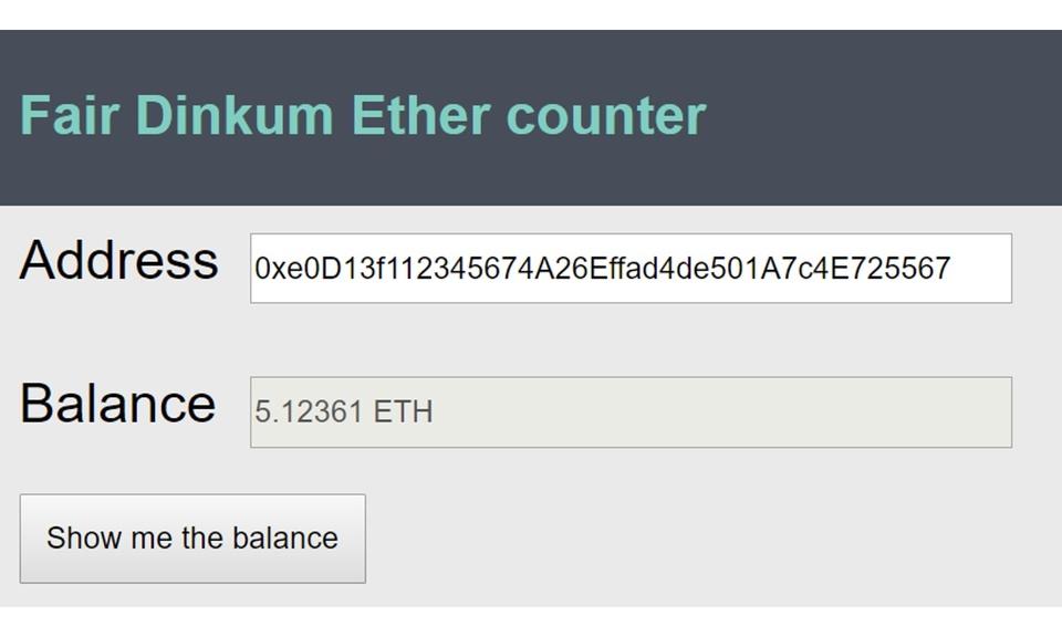 Fair Dinkum ether counter