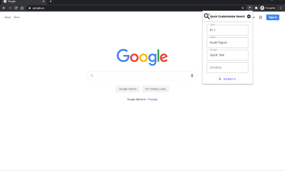Quick Customizable Search
