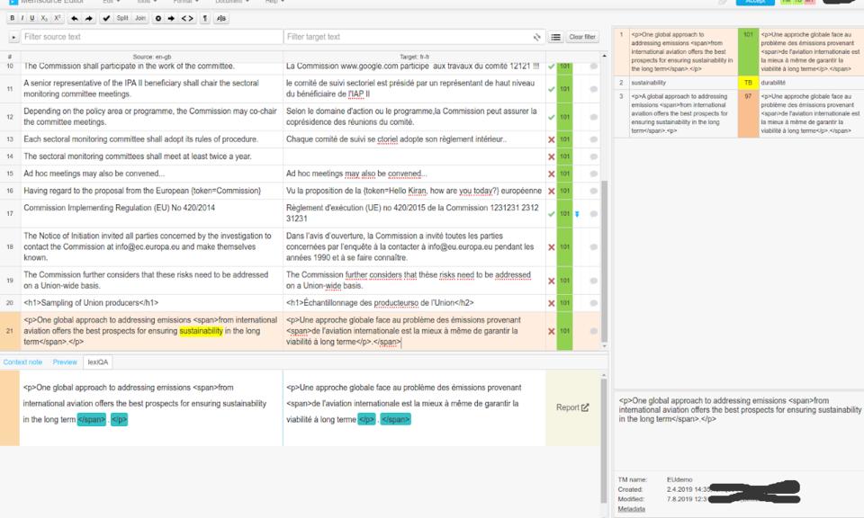 lexiQA for Memsource (testserver)