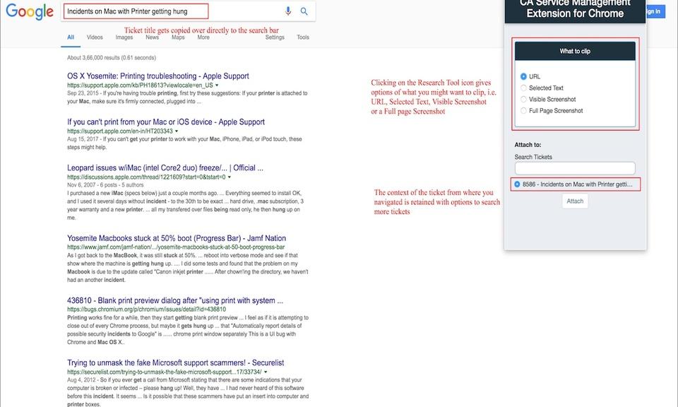CA Service Management Extension for Chrome