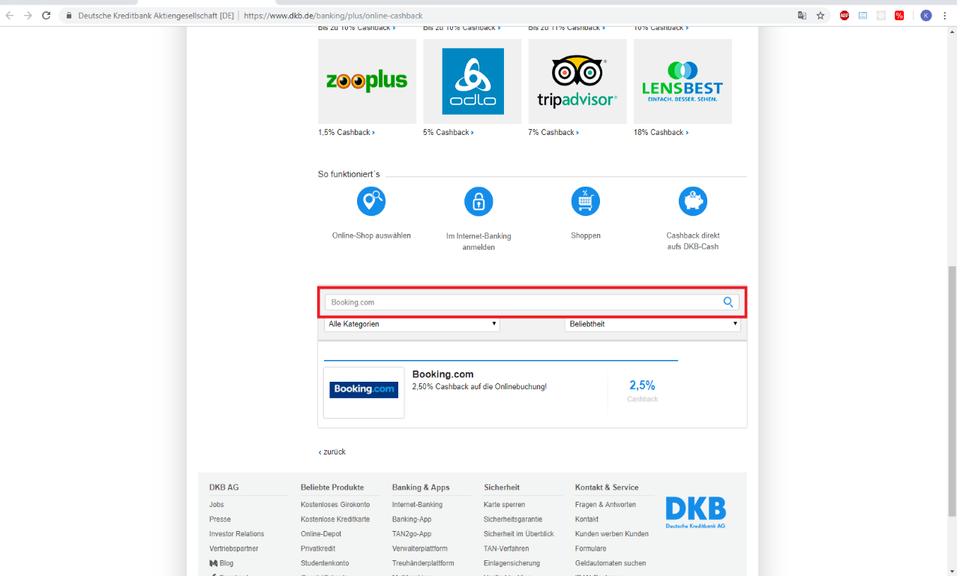 Online-Cashback-Reminder (DKB compatible)