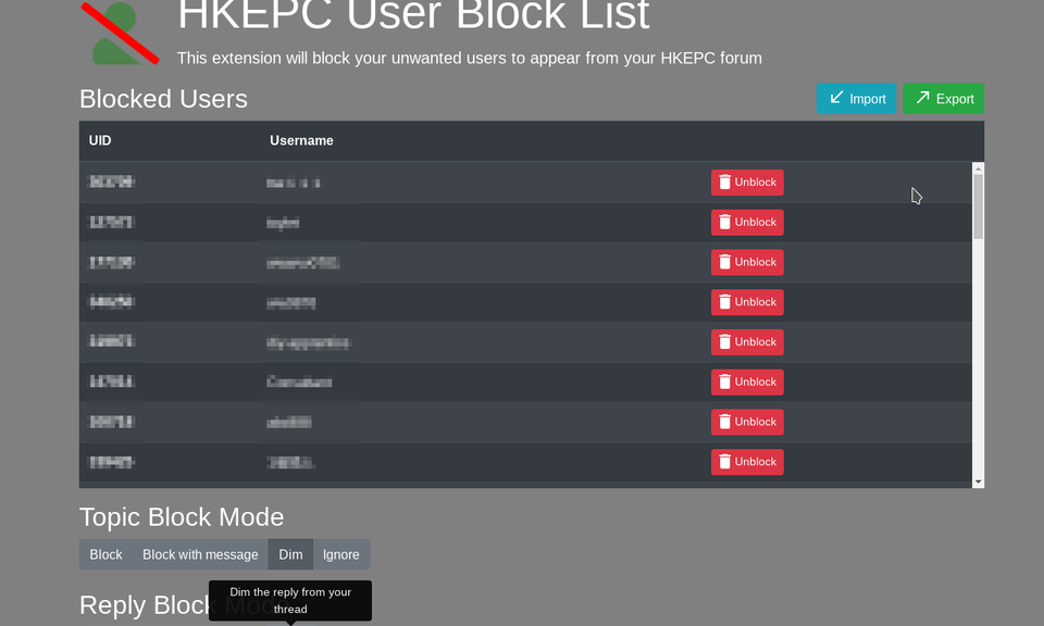 HKEPC User Block List