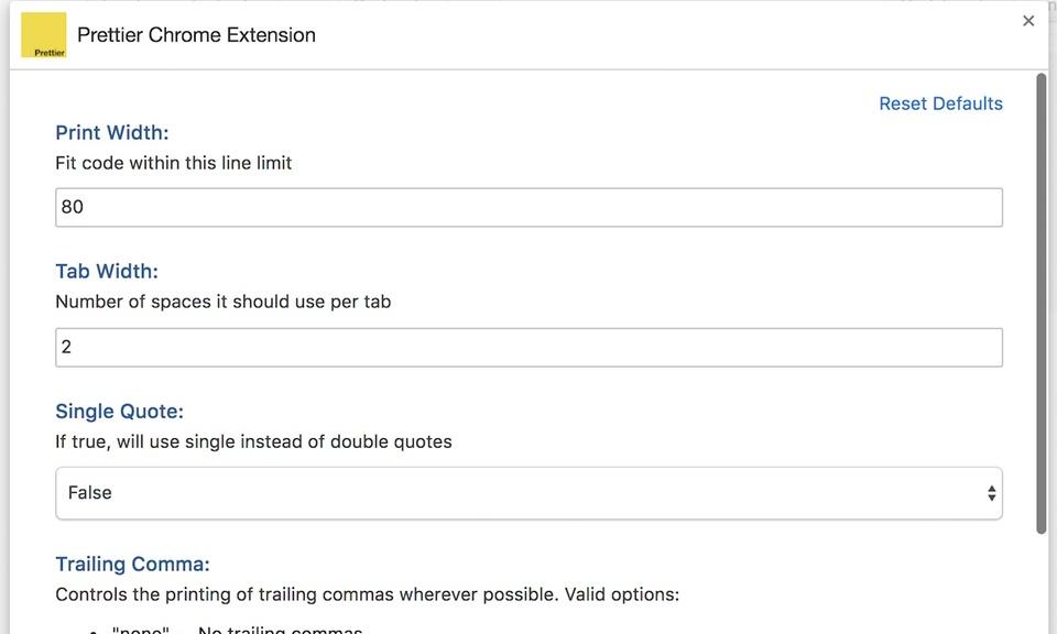 Prettier Chrome Extension