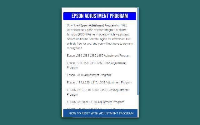 ▷ EPSON Adjustment Program