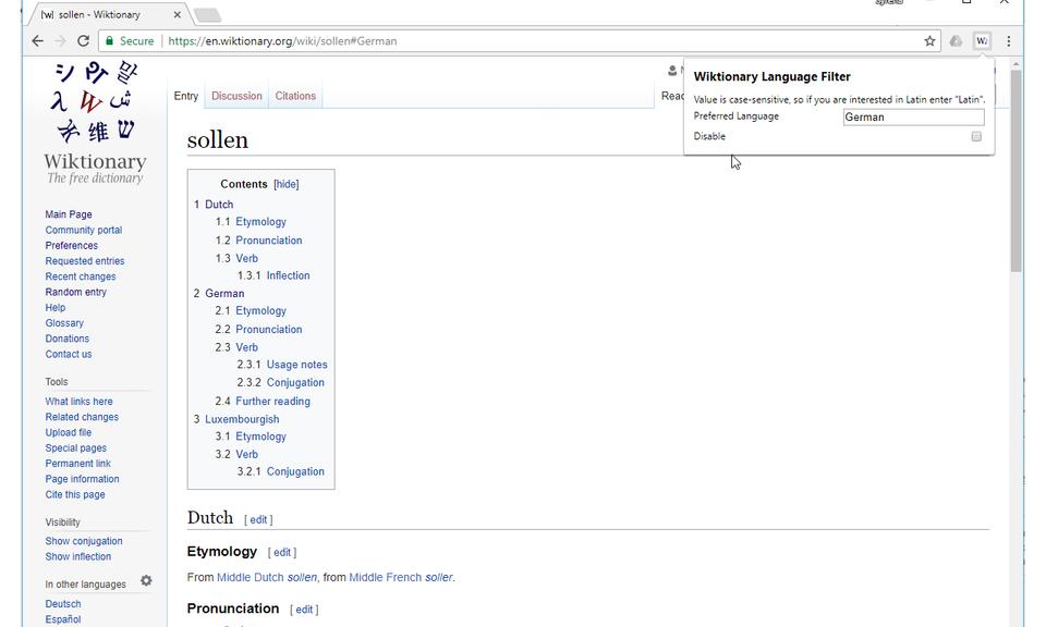 Wiktionary Language Filter