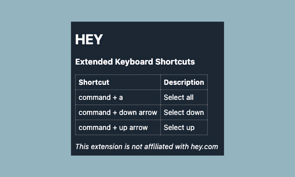Extended Keyboard Shortcuts for Hey