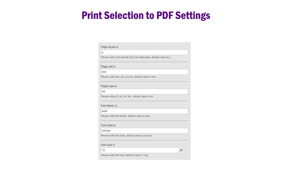 Print Selection to PDF