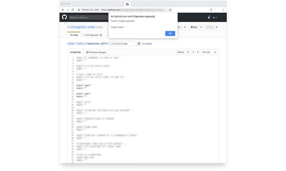 github.com duplicate POT msgid checker